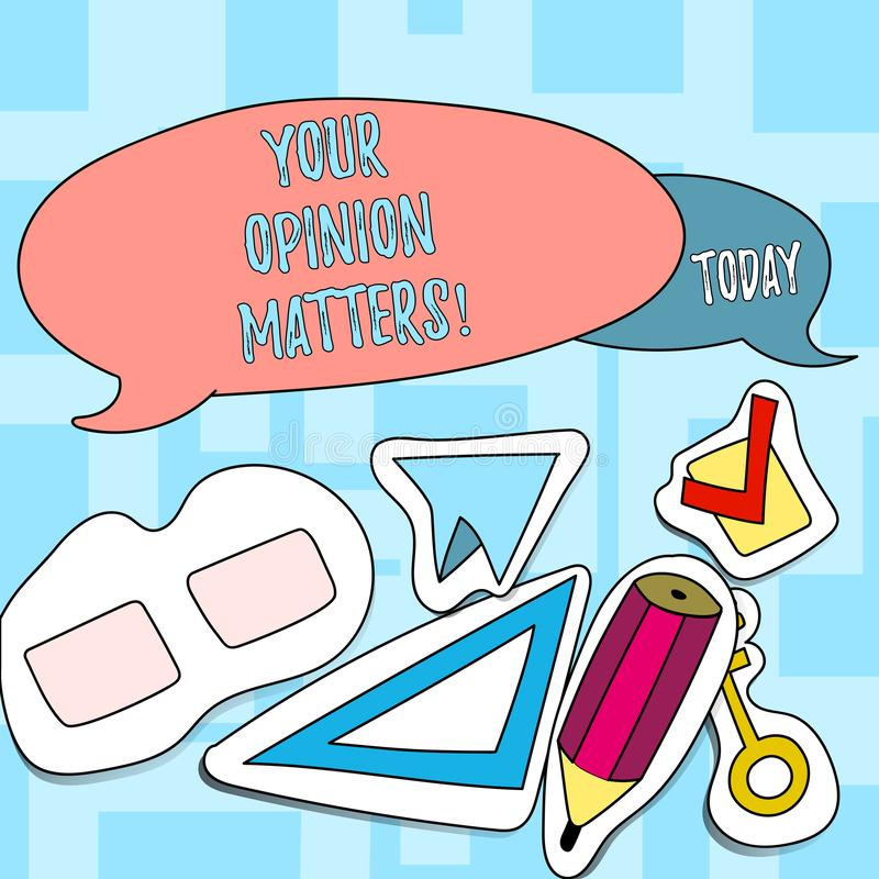 Teksta znak pokazuje Twój opinii sprawy Konceptualni fotografia klienta informacje zwrotne przeglądy są znacząco Dwa Pustym Kolor ilustracja wektor