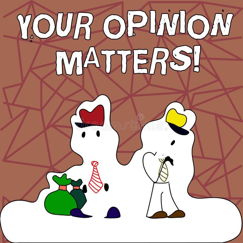 Teksta znak pokazuje Twój opinii sprawy Konceptualni fotografia klienta informacje zwrotne przeglądy są znacząco postacią Dwa męż ilustracji
