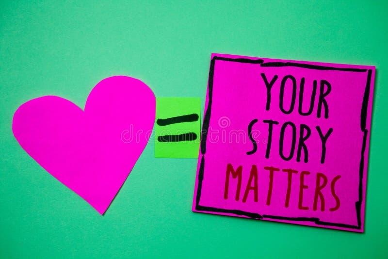 Teksta znak pokazuje Twój opowieści sprawy Konceptualna fotografii część twój doświadczenie dzienniczka Ekspresowi uczucia w writ zdjęcie stock