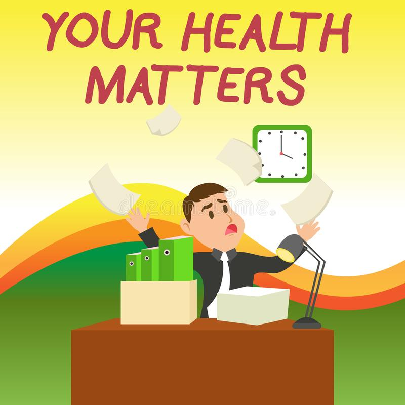Teksta znak pokazuje Tw?j zdrowie sprawy Konceptualny fotografii dobre zdrowie jest znacząco Zmieszanym samiec między innymi ilustracji