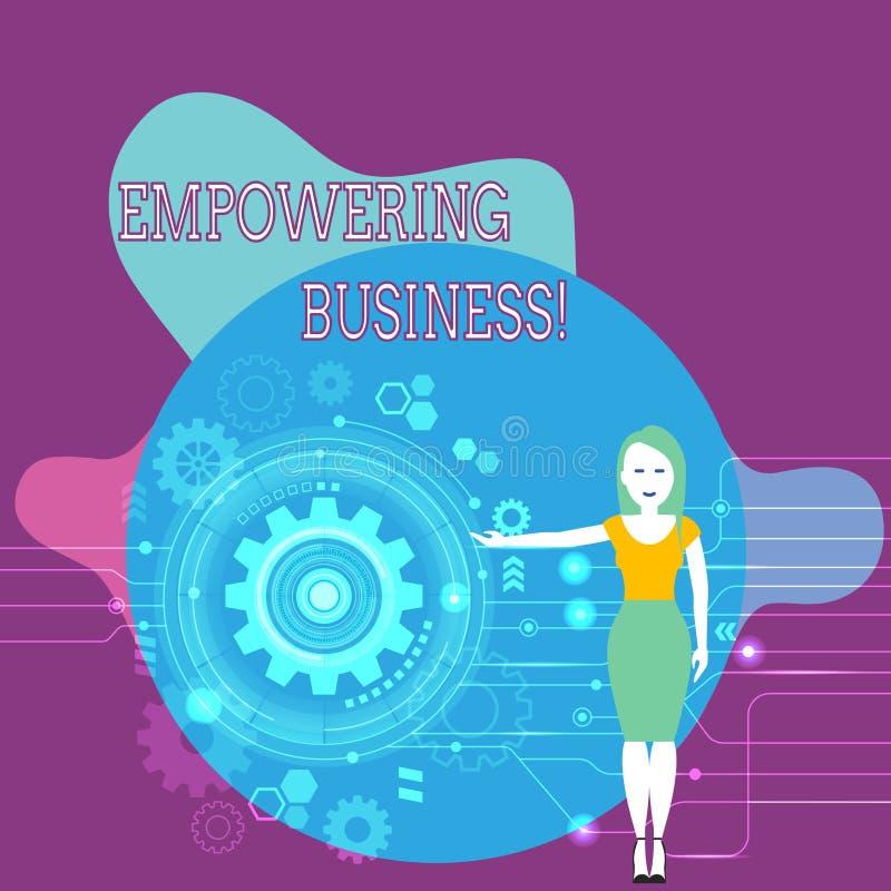 Teksta znak pokazuje Upełnomocniający biznes Konceptualna fotografia tworzy środowisko który popiera przyrosta biznesowa kobieta ilustracja wektor