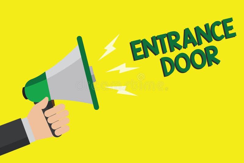 Teksta znak pokazuje Wejściowego drzwi Konceptualny fotografia sposób w drzwi bramy ingresu Hasłowego Przybywającego przejścia mę ilustracja wektor