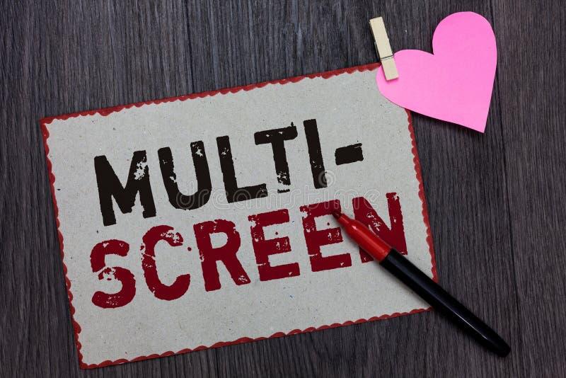 Teksta znak pokazuje Wielo- ekran Konceptualna fotografia Ma lub wymaga kilka w kinowej Białej strony czerwieni ekran szczególnie fotografia royalty free