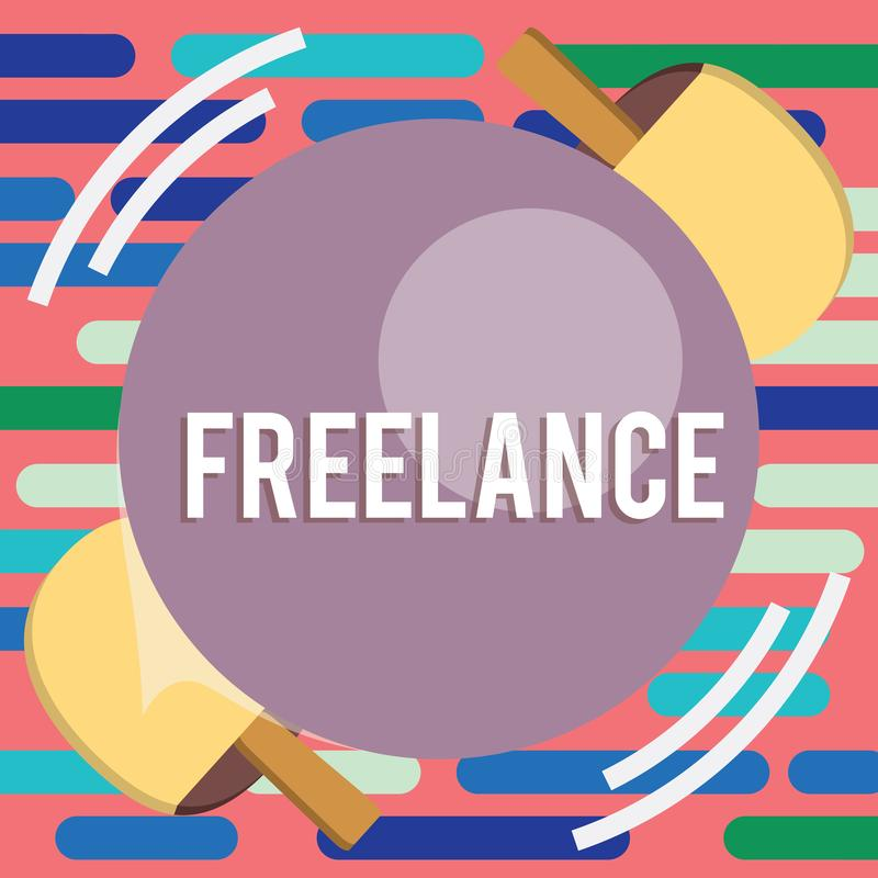 Teksta znaka pokazywać Freelance Konceptualnej fotografii selfemployed najęty pracować dla różnych firm na przydziału Stołowym te royalty ilustracja