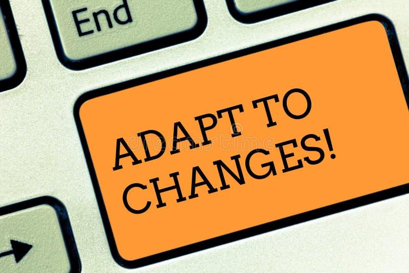 Teksta znaka seans Adaptuje zmiany Konceptualnej fotografii zmian Nowatorska adaptacja z technologiczną ewolucji klawiaturą obraz royalty free