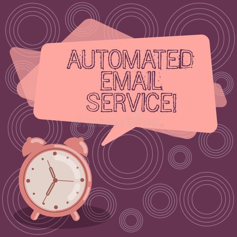 Teksta znaka seans Automatyzująca poczta elektroniczna Konceptualnej fotografii automatyczny podejmowanie decyzji opierający się  ilustracji