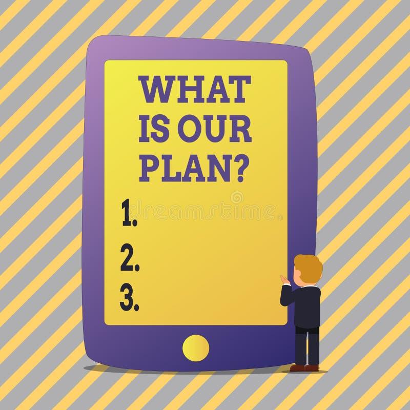 Teksta znaka seans Co Jest Nasz Planquestion Konceptualna fotografii misja Zamierza agendy Strategize Brainstorming ilustracja wektor