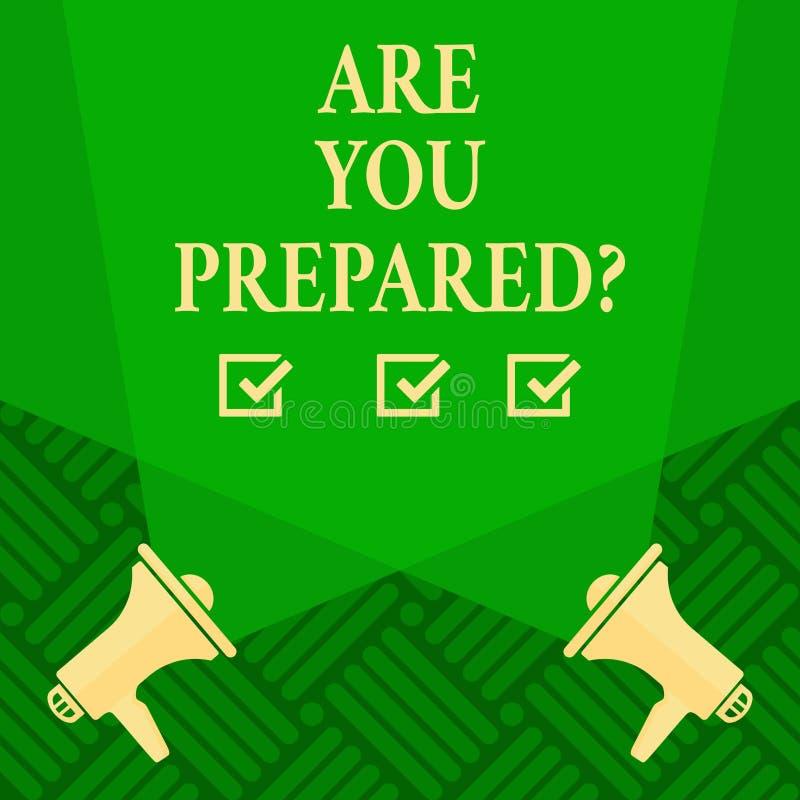 Teksta znaka seans Jest Tobą Preparedquestion Konceptualnej fotografii przygotowania gotowości oceny Gotowy cenienie royalty ilustracja
