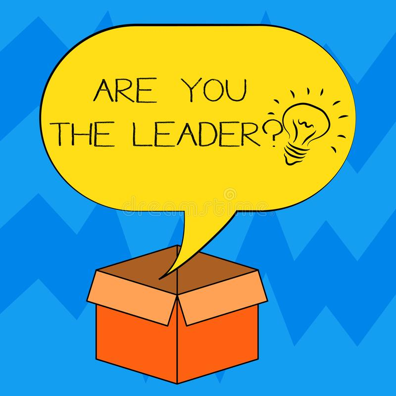 Teksta znaka seans Jest Tobą Leaderquestion Konceptualny fotografii przywódctwo demonstruje brać opiekę firma pomysłu ikona ilustracji