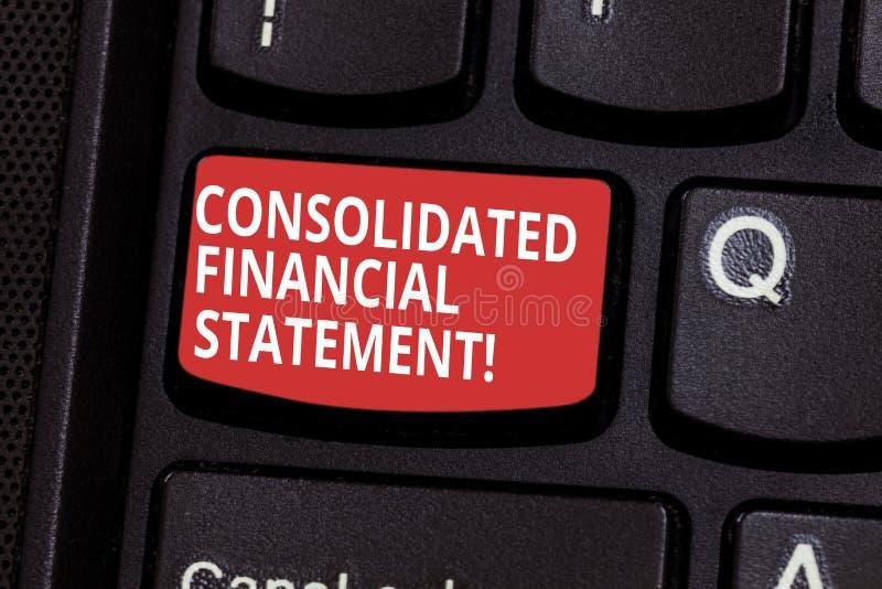 Teksta znaka seans Konsolidujący sprawozdanie finansowe Konceptualni fotografii sumy zdrowie cała grupa spółek klawiatura obraz stock