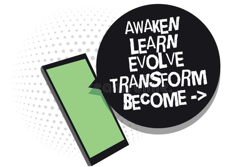 Teksta znaka seans Obudzi Uczy się Rozwija transformatę Zostać Konceptualna fotografii inspiraci motywacja Ulepsza telefonu komór ilustracji