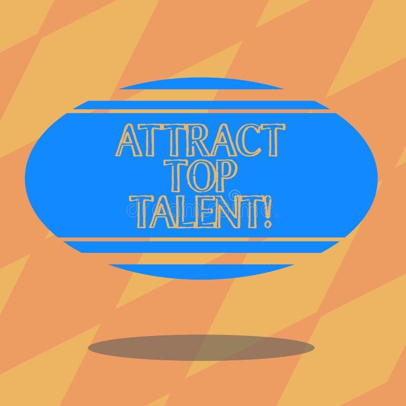 Teksta znaka seans Przyciąga Odgórnego talent Konceptualna fotografia wyznacza pracownika który umiejętności i dobrego potencjaln royalty ilustracja