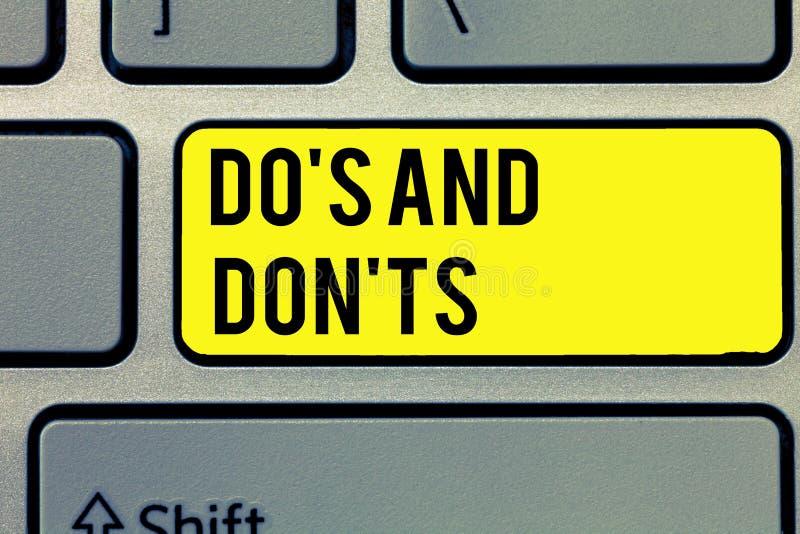 Teksta znaka seans Robi s jest I Don t nots Konceptualna fotografii Technologicznie komplikacja robić decyzi zdjęcie stock