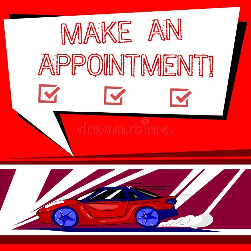 Teksta znaka seans Robi spotkaniu Konceptualna fotografia Wyznacza someone szczególny biuro lub ustawia samochód z postem ilustracja wektor