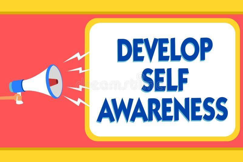Teksta znaka seans Rozwija jaźni świadomość Konceptualnego fotografia wzrosta świadoma wiedza swój charakter wiadomości ostrzeżen ilustracji