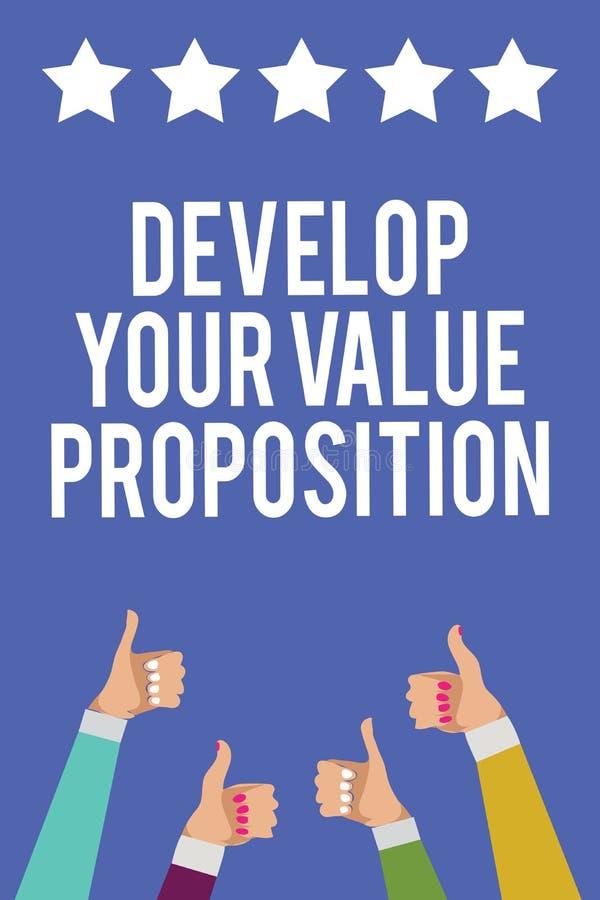 Teksta znaka seans Rozwija Twój wartości propozycję Konceptualna fotografia Przygotowywa strategii marketingowej namawianie do ku ilustracji