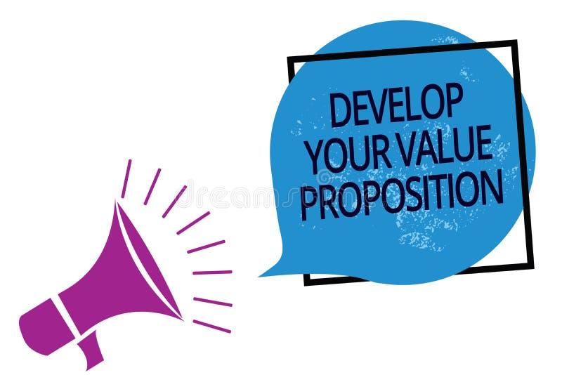 Teksta znaka seans Rozwija Twój wartości propozycję Konceptualna fotografia Przygotowywa strategii marketingowej namawianie do ku royalty ilustracja