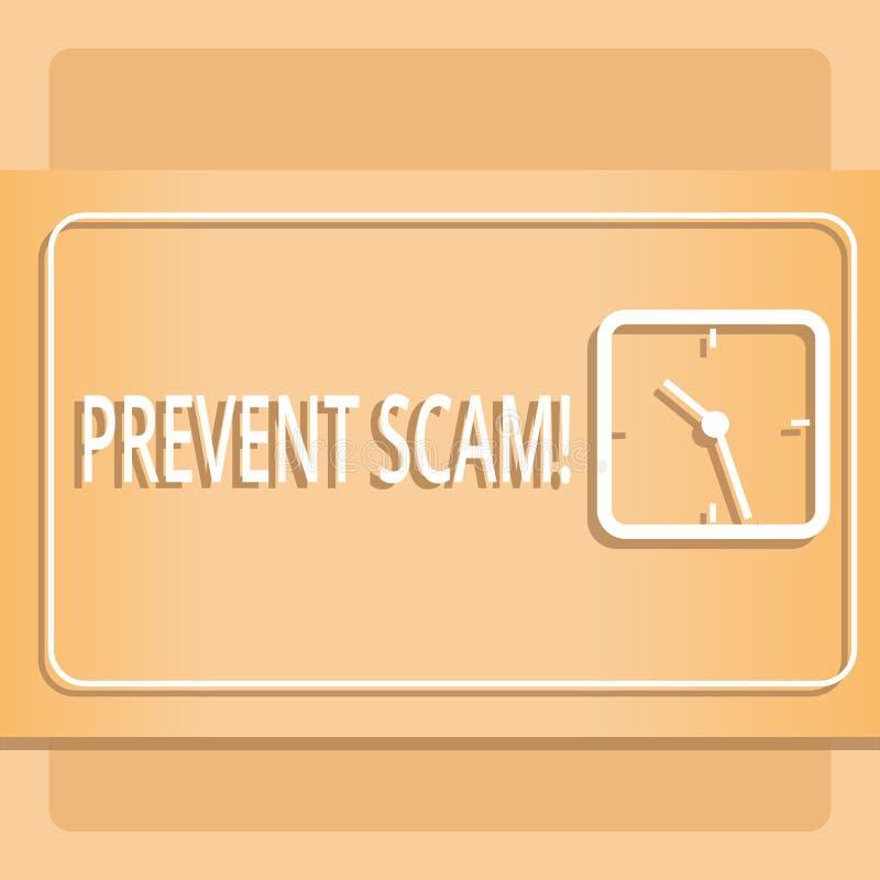 Teksta znaka seans Zapobiega Scam Konceptualnych fotografii ochrona konsumentów oszukańczych transakcji Nowożytny projekt royalty ilustracja