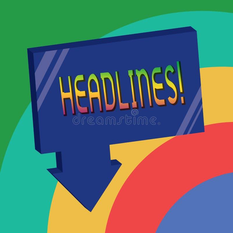 Teksta znaka seansu nagłówki Konceptualny fotografii kłoszenie przy wierzchołkiem artykuł strona w magazynie lub gazecie ilustracja wektor