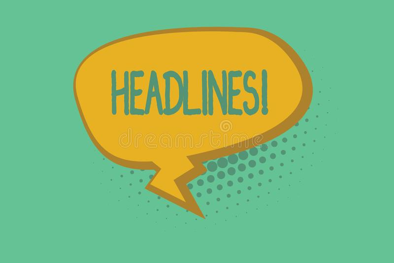 Teksta znaka seansu nagłówki Konceptualny fotografii kłoszenie przy wierzchołkiem artykuł strona w magazynie lub gazecie royalty ilustracja