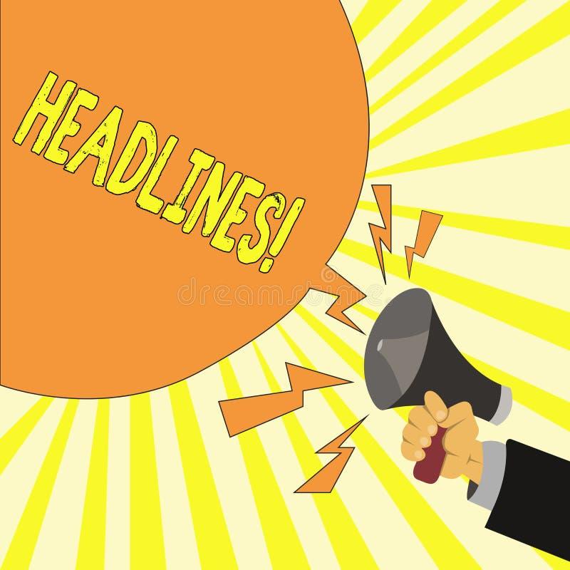 Teksta znaka seansu nagłówki Konceptualny fotografii kłoszenie przy wierzchołkiem artykuł strona w magazynie lub gazecie ilustracji