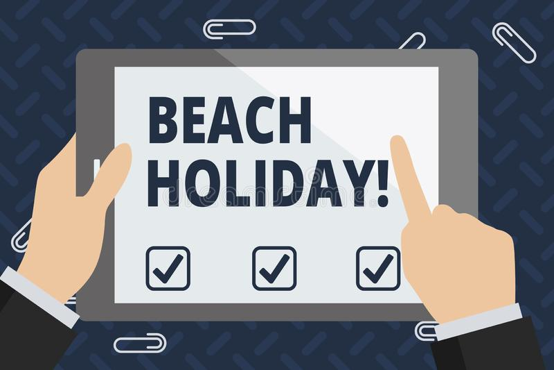 Teksta znaka seansu plaży wakacje Konceptualna fotografia Być na wakacjach w co podstawowy właśnie sunbathes w plaży ilustracji