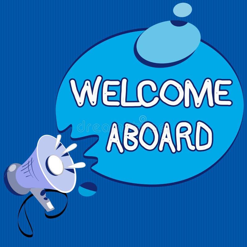 Teksta znaka seansu powitanie Aboard Konceptualny fotografii wyrażenie powitania osoba czyj przyjeżdżał pragnie ilustracji