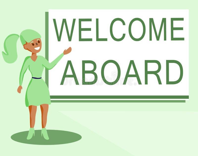 Teksta znaka seansu powitanie Aboard Konceptualny fotografii wyrażenie powitania osoba czyj przyjeżdżał pragnie ilustracja wektor