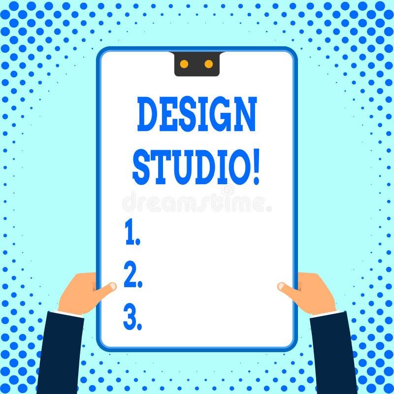Teksta znaka seansu projekta studio Konceptualna fotografii miejsce pracy dla projektantów i rzemieślników angażował w poczynać ilustracji