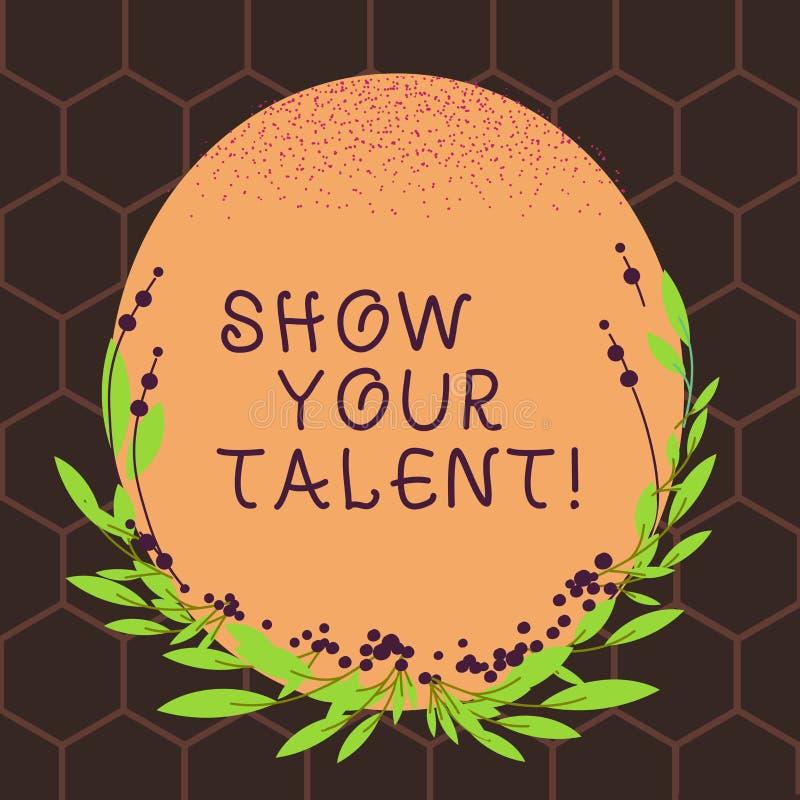 Teksta znaka seansu przedstawienie Twój talent Konceptualny fotografii zaproszenie pokazywać someone co jest wykwalifikowany lub  ilustracja wektor