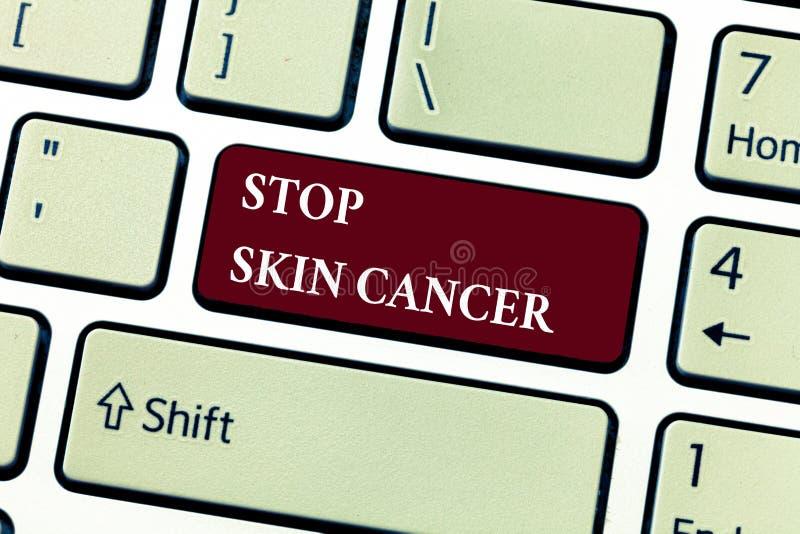 Teksta znaka seansu przerwy skóry nowotwór Konceptualny fotografii wystrzeganie prolonguje ujawnienie pozafioletowy napromieniani zdjęcia stock