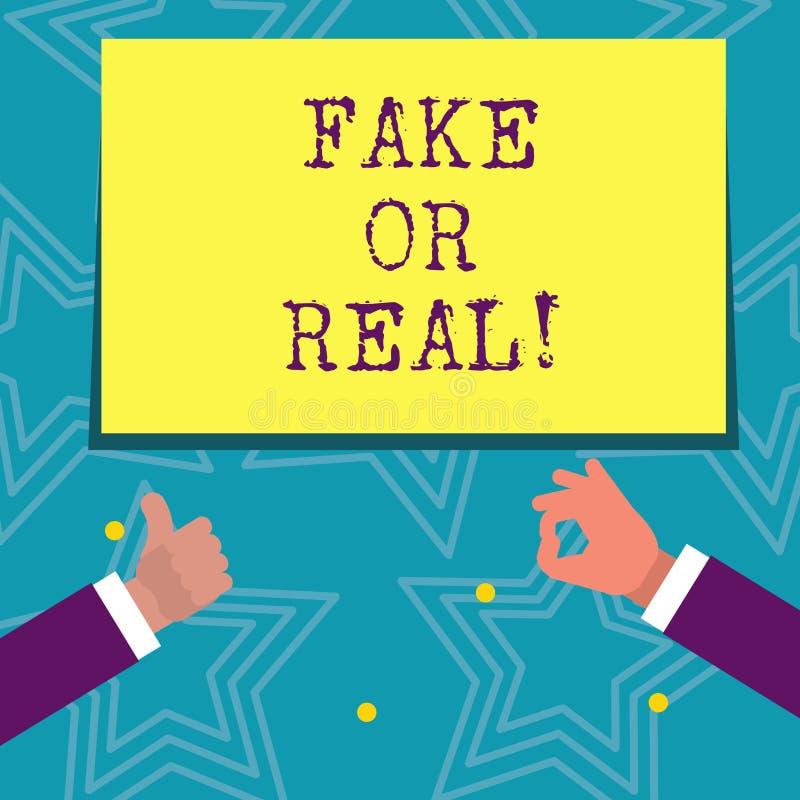 Teksta znaka seansu real Lub imitacja Konceptualna fotografia sprawdza jeżeli produkty są oryginalni lub sprawdzać ilość ilustracja wektor
