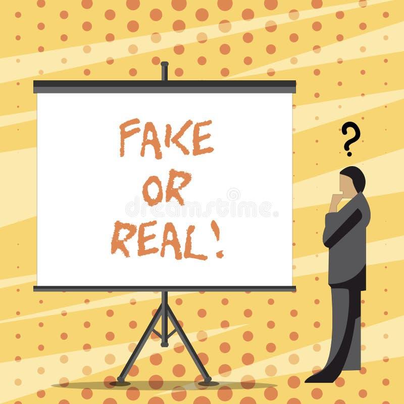 Teksta znaka seansu real Lub imitacja Konceptualna fotografia sprawdza jeżeli produkty są oryginalni lub sprawdzać ilość royalty ilustracja