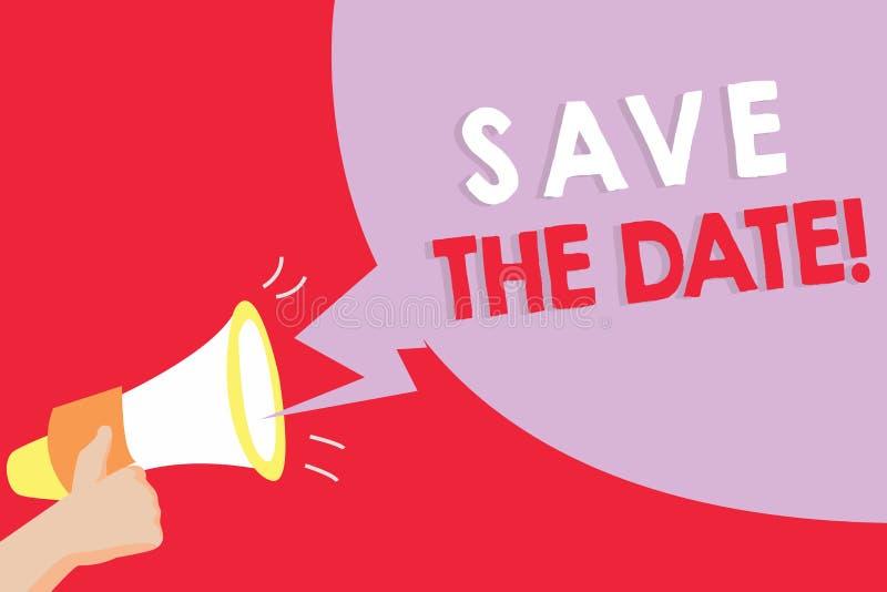 Teksta znaka seansu Save data Konceptualna fotografia Pamięta rozkład Mark kalendarzowy zaproszenie royalty ilustracja