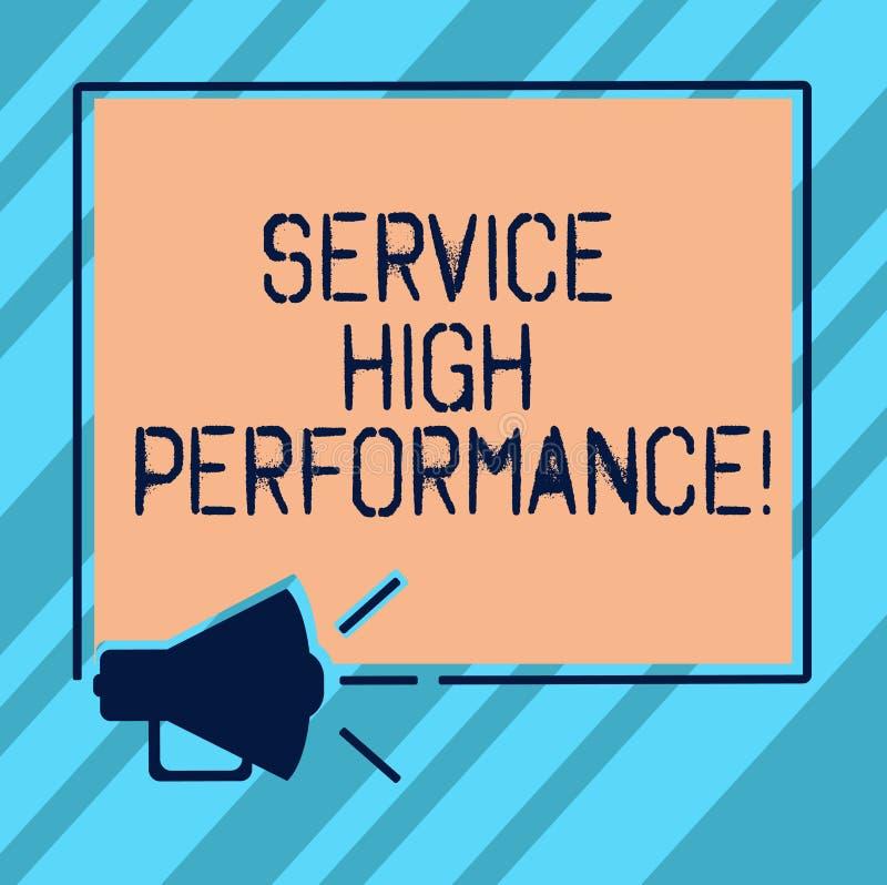 Teksta znaka seansu usługa Wysoki Perforanalysisce Konceptualnej fotografii Dyrekcyjny spożytkowanie zasoby gwarancji Uptime mega ilustracja wektor
