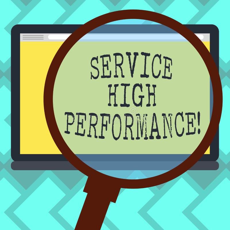Teksta znaka seansu usługa Wysoki Perforanalysisce Konceptualnej fotografii Dyrekcyjny spożytkowanie zasoby Uptime gwarancja ilustracji