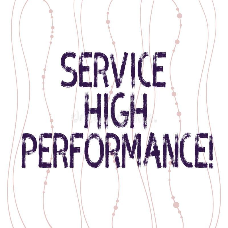 Teksta znaka seansu usługa Wysoki Perforanalysisce Konceptualnej fotografii Dyrekcyjny spożytkowanie zasoby Uptime gwarancja royalty ilustracja