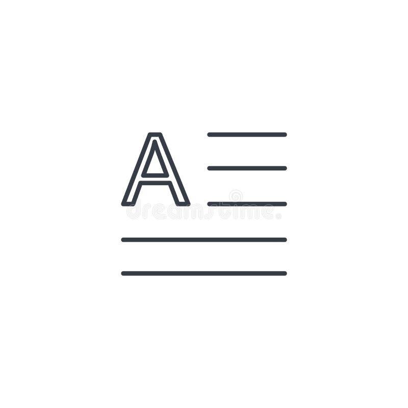 Tekstinhoud, blok, dun de lijnpictogram van het krantenartikel Lineair vectorsymbool vector illustratie
