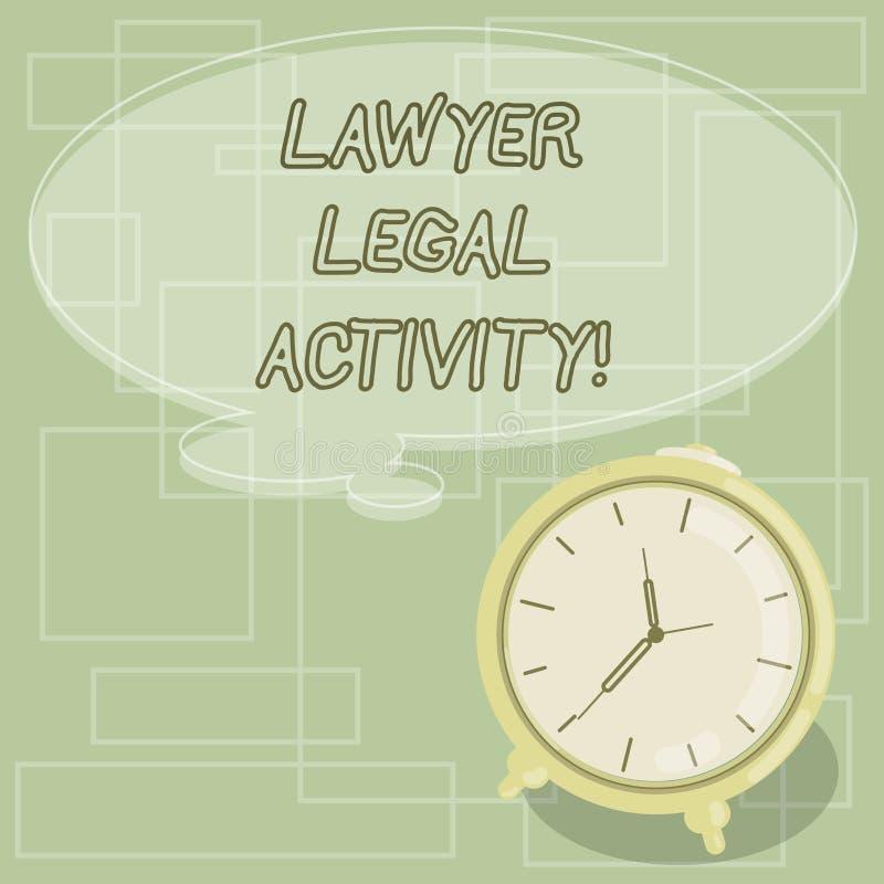 Tekstteken die Advocaat Legal Activity tonen De conceptuele foto bereidt gevallen voor en geeft advies op wettelijke onderworpen  royalty-vrije illustratie