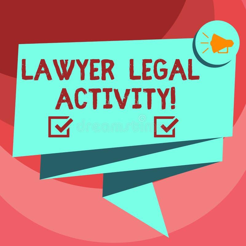 Tekstteken die Advocaat Legal Activity tonen De conceptuele foto bereidt gevallen voor en geeft advies over wettelijk 3D Gevouwen royalty-vrije illustratie