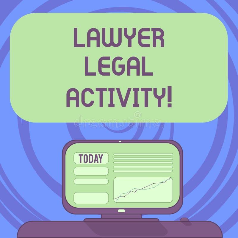 Tekstteken die Advocaat Legal Activity tonen De conceptuele foto bereidt gevallen voor en geeft advies over wettelijk Opgezet ond vector illustratie