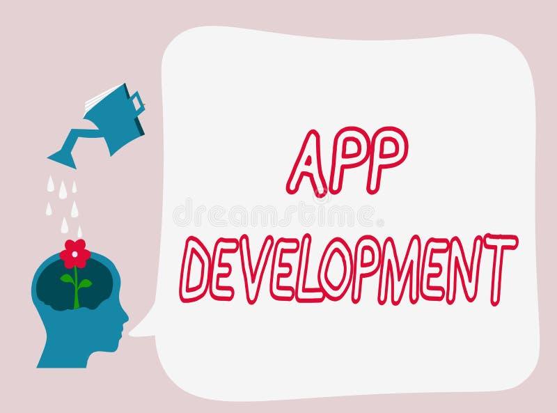 Tekstteken die App Ontwikkeling tonen De conceptuele diensten van de fotoontwikkeling voor ontzagwekkende mobiele en Webervaringe royalty-vrije illustratie