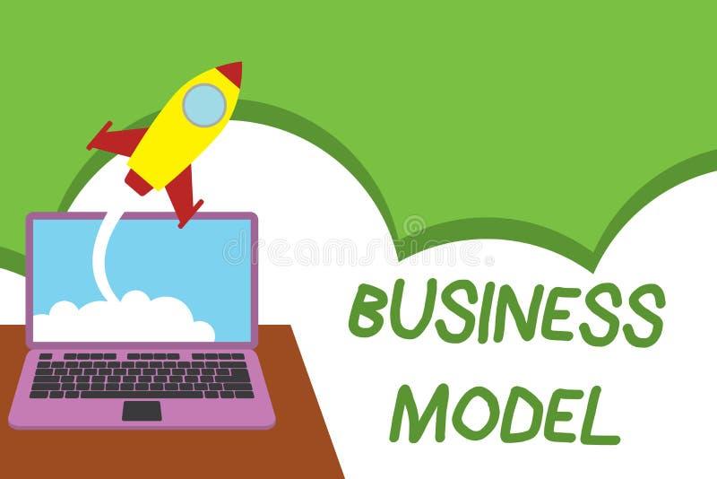 Tekstteken die Bedrijfsmodel tonen Conceptuele foto die opbrengst bronplan op hoe te om winst Succesvol identificeren te maken royalty-vrije illustratie
