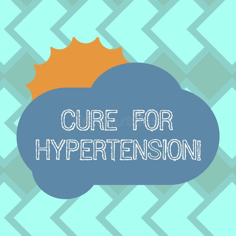 Tekstteken die Behandeling voor Hypertensie tonen Conceptuele foto die behandeling ertoe brengen om bloeddrukzon het Verbergen te royalty-vrije illustratie