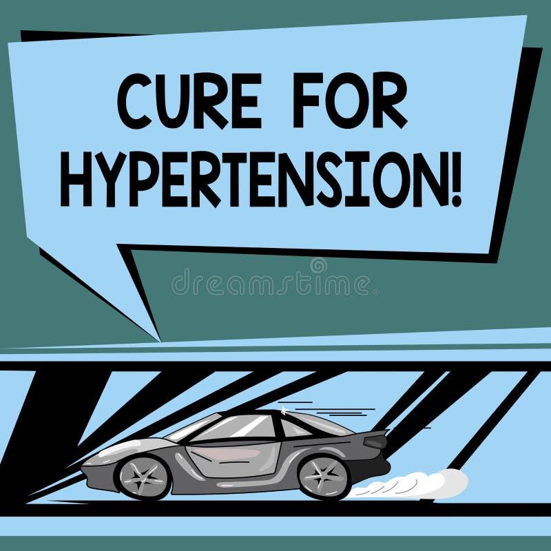 Tekstteken die Behandeling voor Hypertensie tonen Conceptuele foto die behandeling ertoe brengen om de bloeddrukauto met snel te  stock illustratie