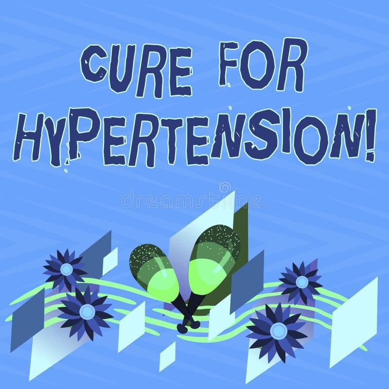 Tekstteken die Behandeling voor Hypertensie tonen Conceptuele foto die behandeling ertoe brengen om de Kleurrijke bloeddruk te ve stock illustratie