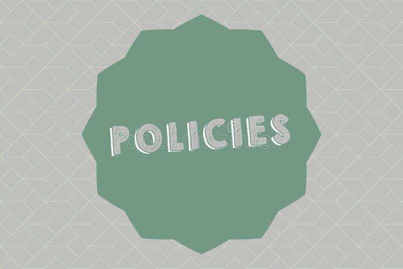 Tekstteken die Beleid tonen Conceptueel die fotocursus of principe van actie door organisatie wordt goedgekeurd of wordt voorgest royalty-vrije illustratie