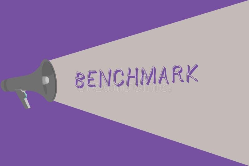 Tekstteken die Benchmark tonen Conceptueel fotonorm of referentiepunt waartegen de dingen Halftone vergeleken vector illustratie