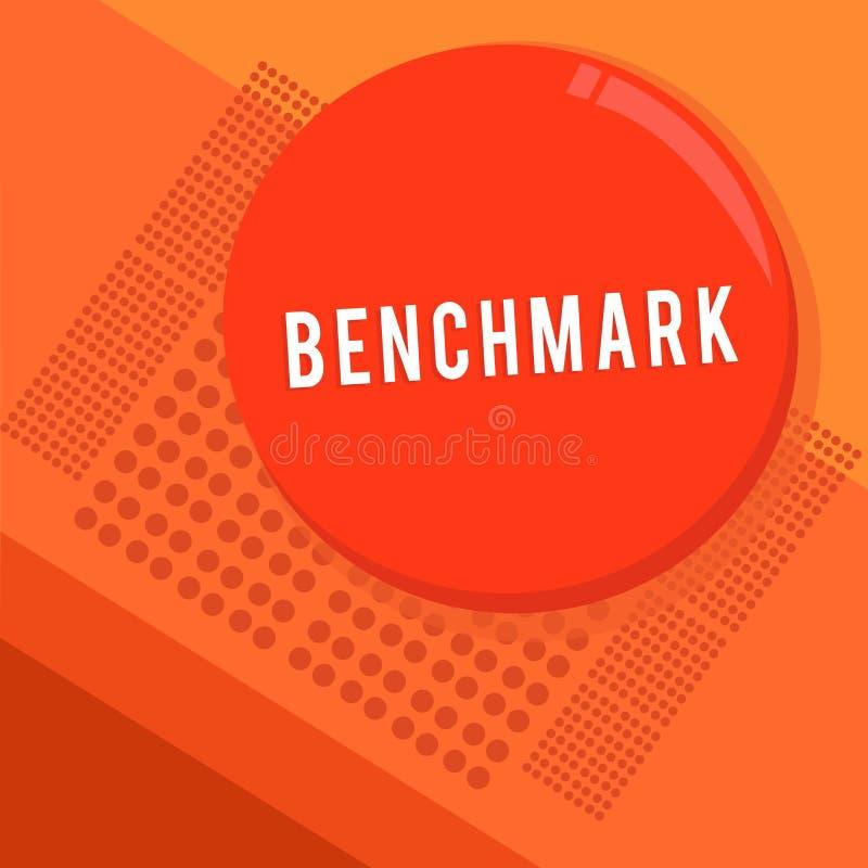 Tekstteken die Benchmark tonen Conceptueel fotonorm of referentiepunt waartegen de dingen Rondschrijven vergeleken vector illustratie