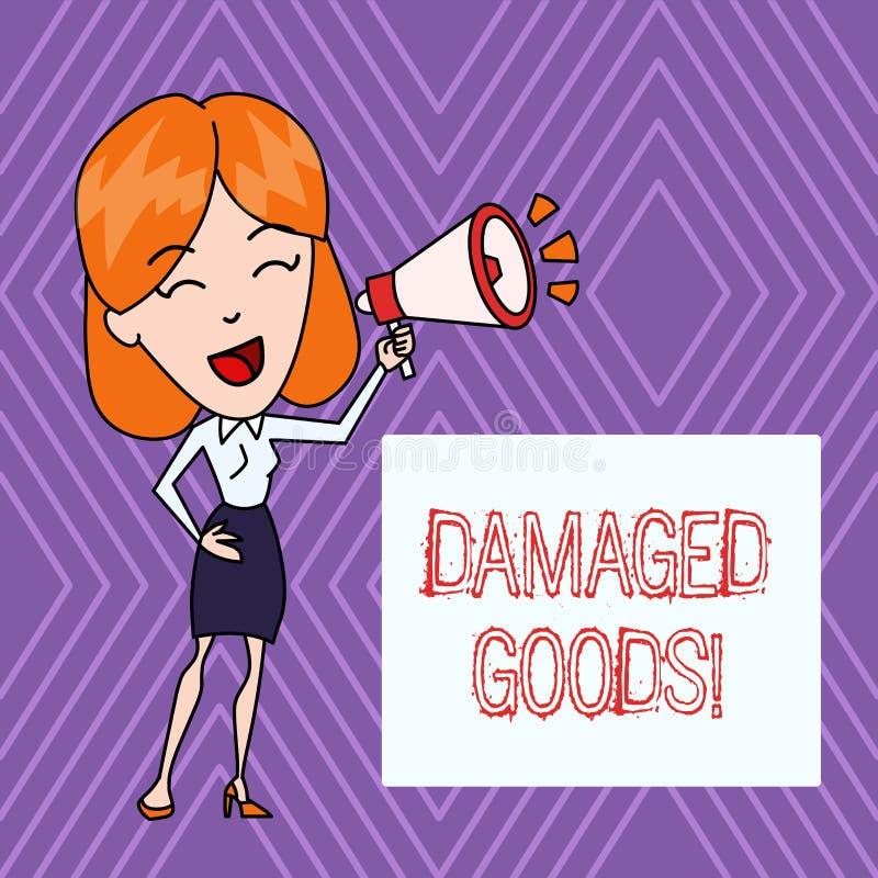 Tekstteken die Beschadigde Goederen tonen Conceptuele fotoproducten of goederen die gebroken, gebarsten of gekrast zijn vector illustratie
